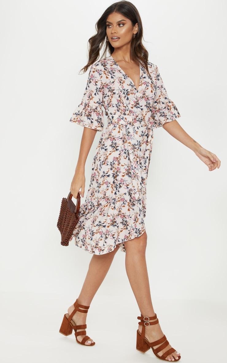 Pink Floral Print Frill Hem Midi Tea Dress 1