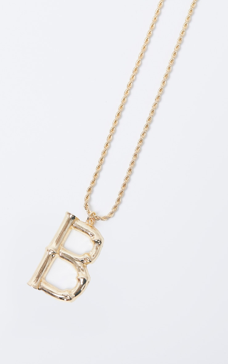 Gold B Bamboo Letter Necklace 3