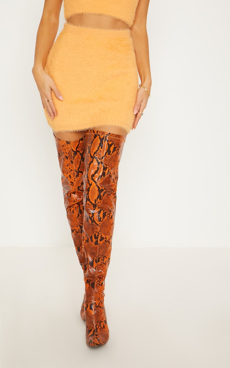 Orange Eyelash Knit Skirt  2