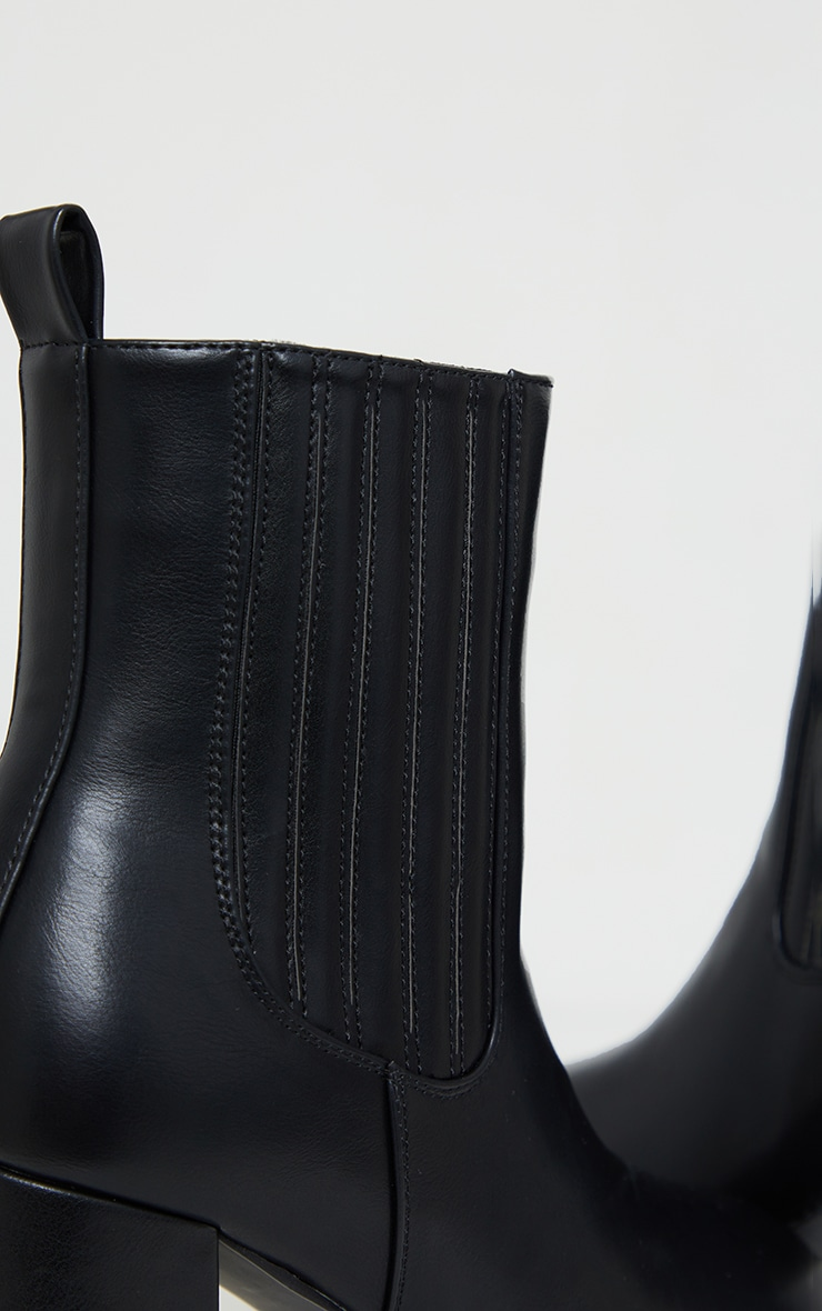 Black Slight Platform Chelsea Basic Heeled Ankle Boots 4