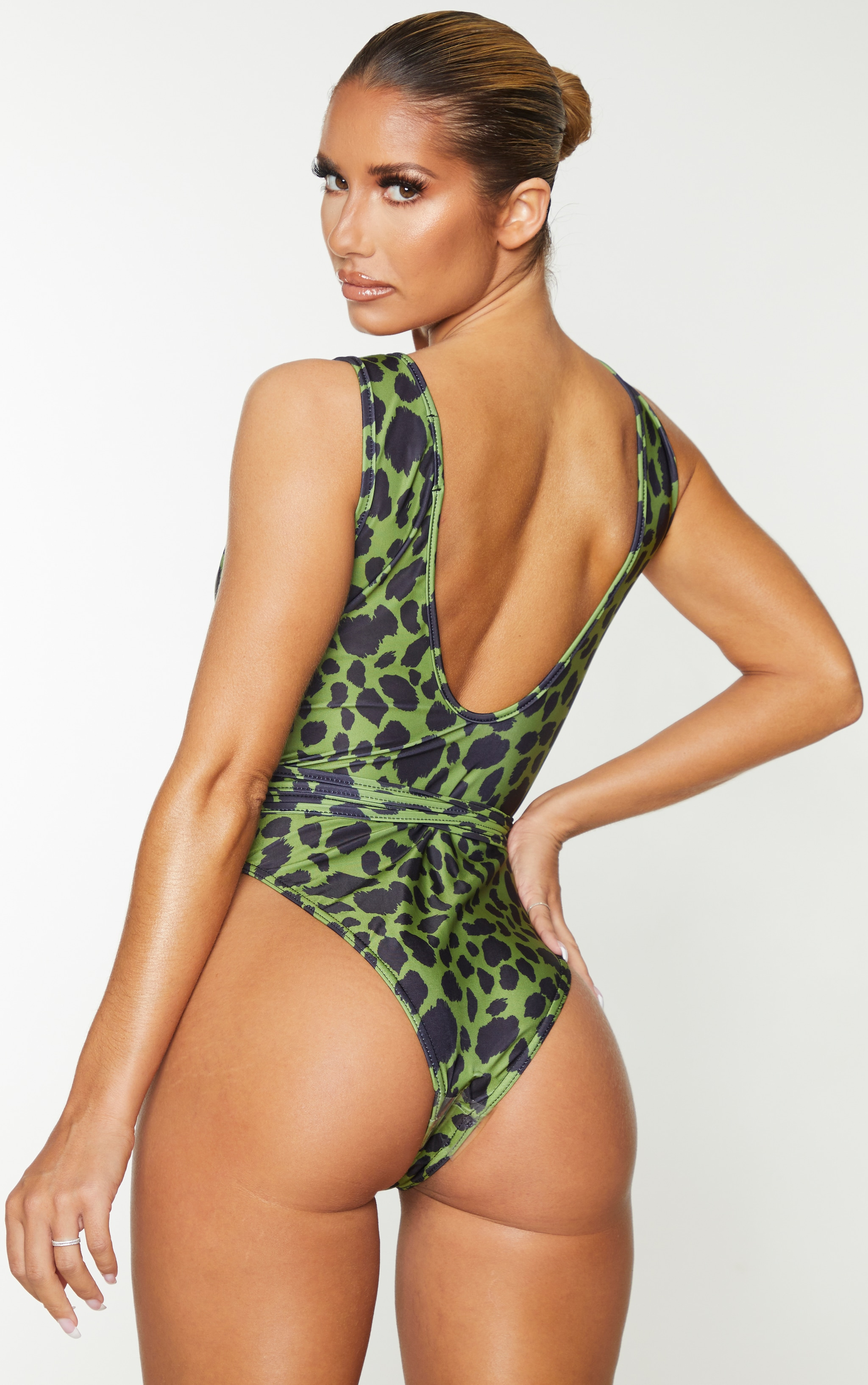 Green Cheetah Cut Out Wrap Around Swimsuit 2