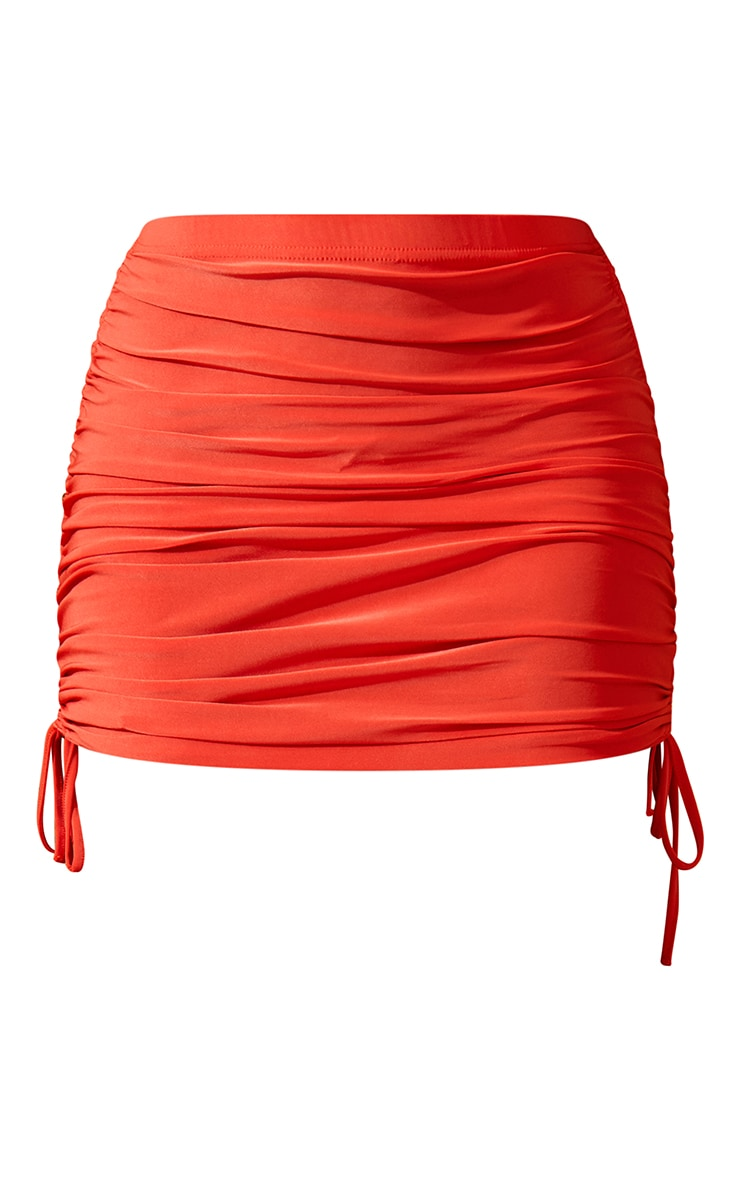Orange Ruched Mini Skirt 7