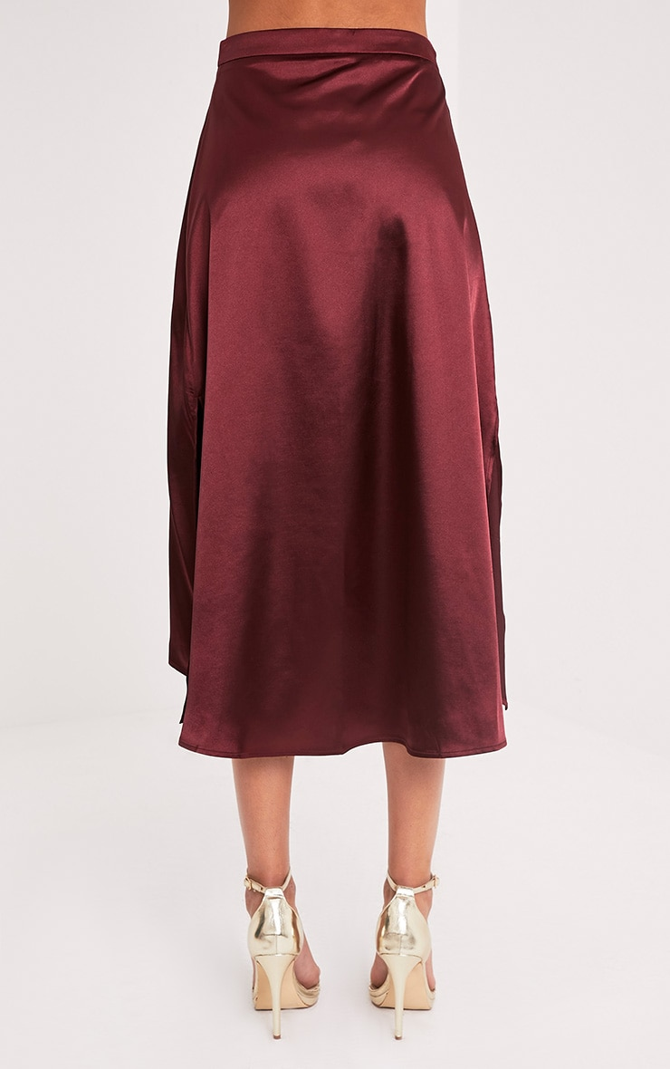 Ennia Burgundy Satin Side Split Floaty Midi Skirt 5