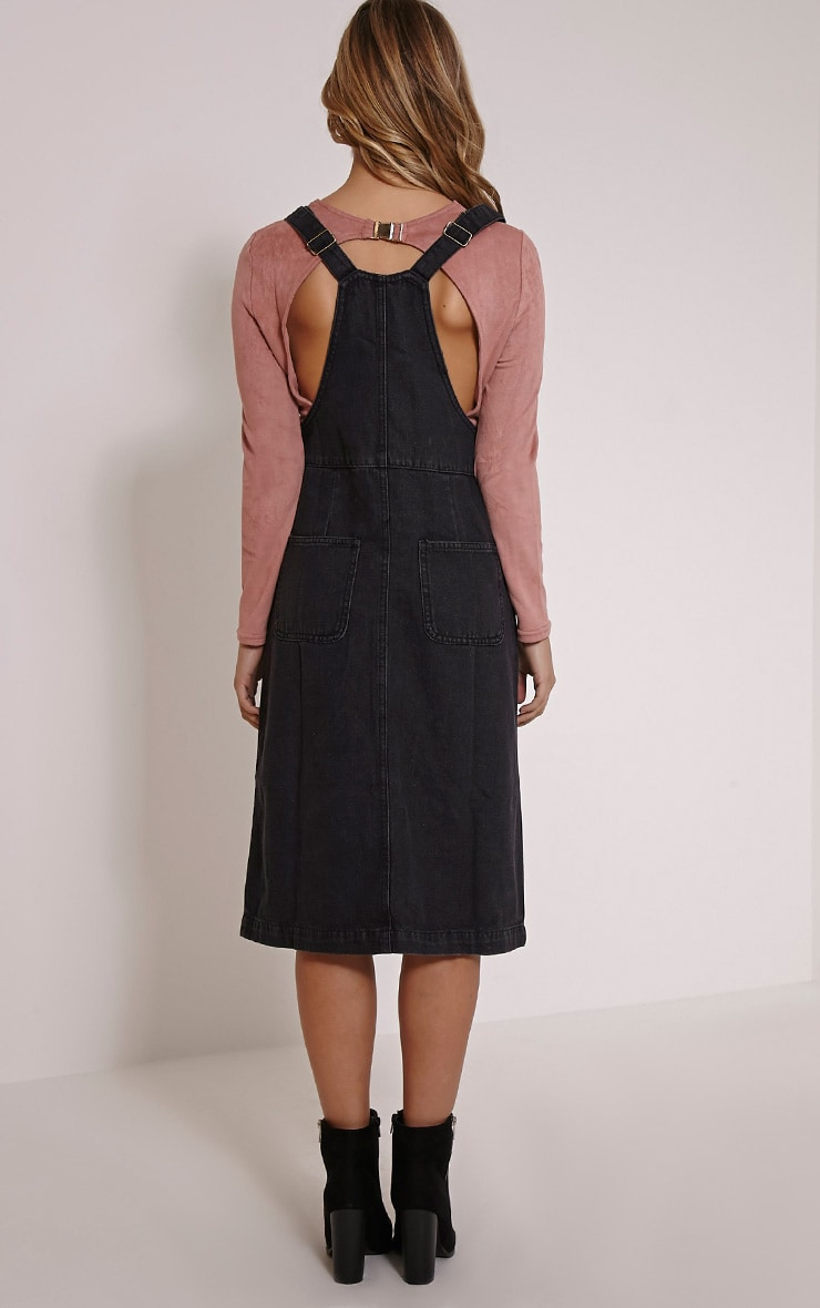 Dolly Black Denim Button Front Pinafore Dress 2