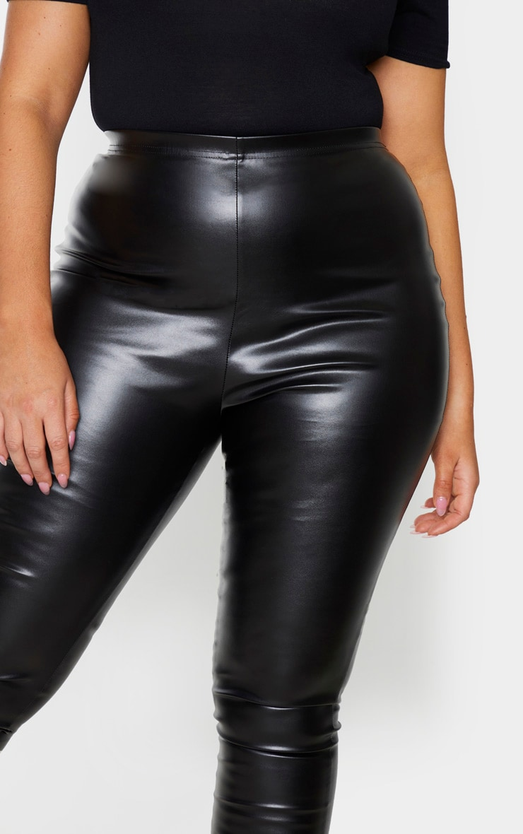 Plus Black Faux Leather High Waisted Leggings 4