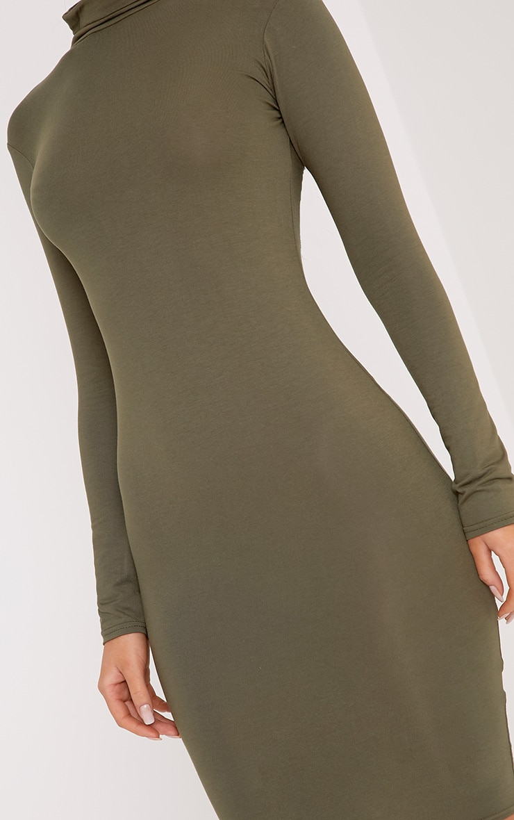 Basic Khaki Jersey Roll Neck Midi Dress 5