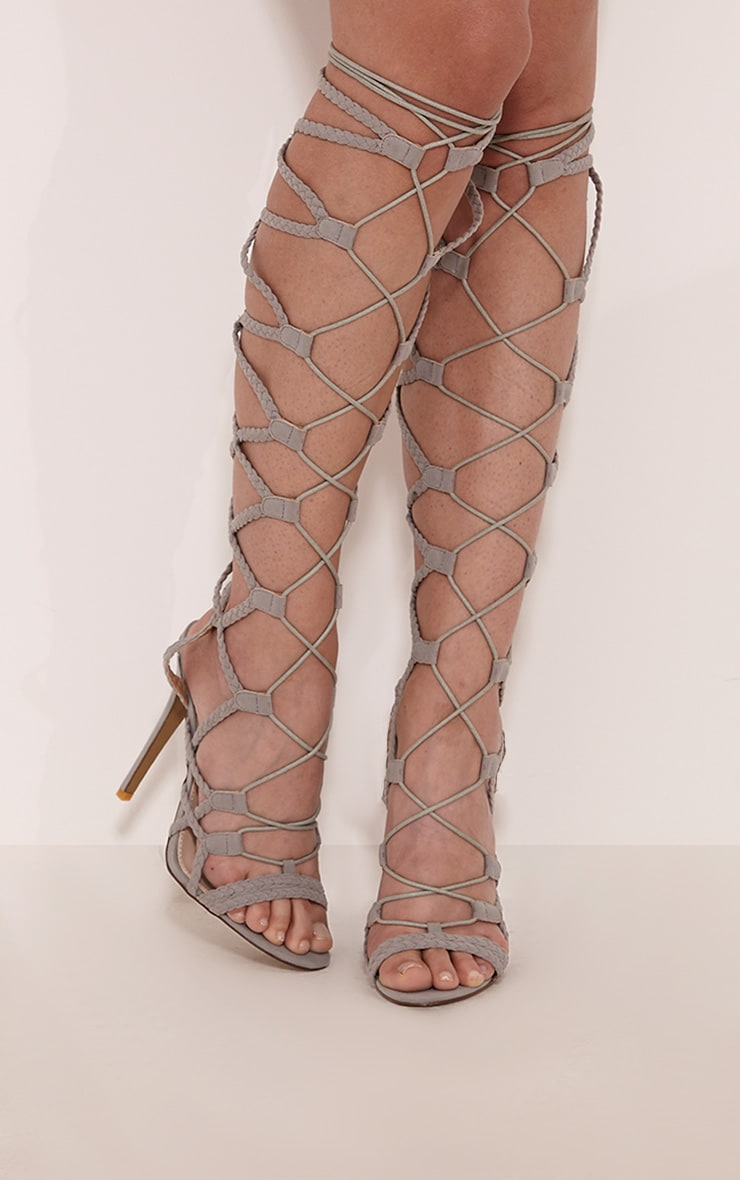 Lexi Grey Lace Up Gladiator Heels 1