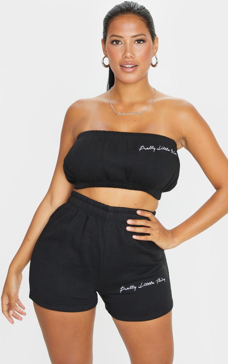 PRETTYLITTLETHING Shape Black Embroidered Sweat Shorts 1