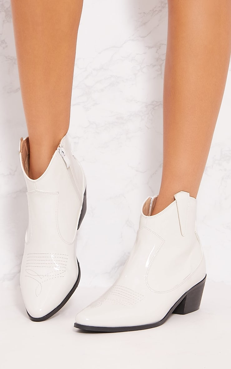 White Patent Western Ankle Boot 2