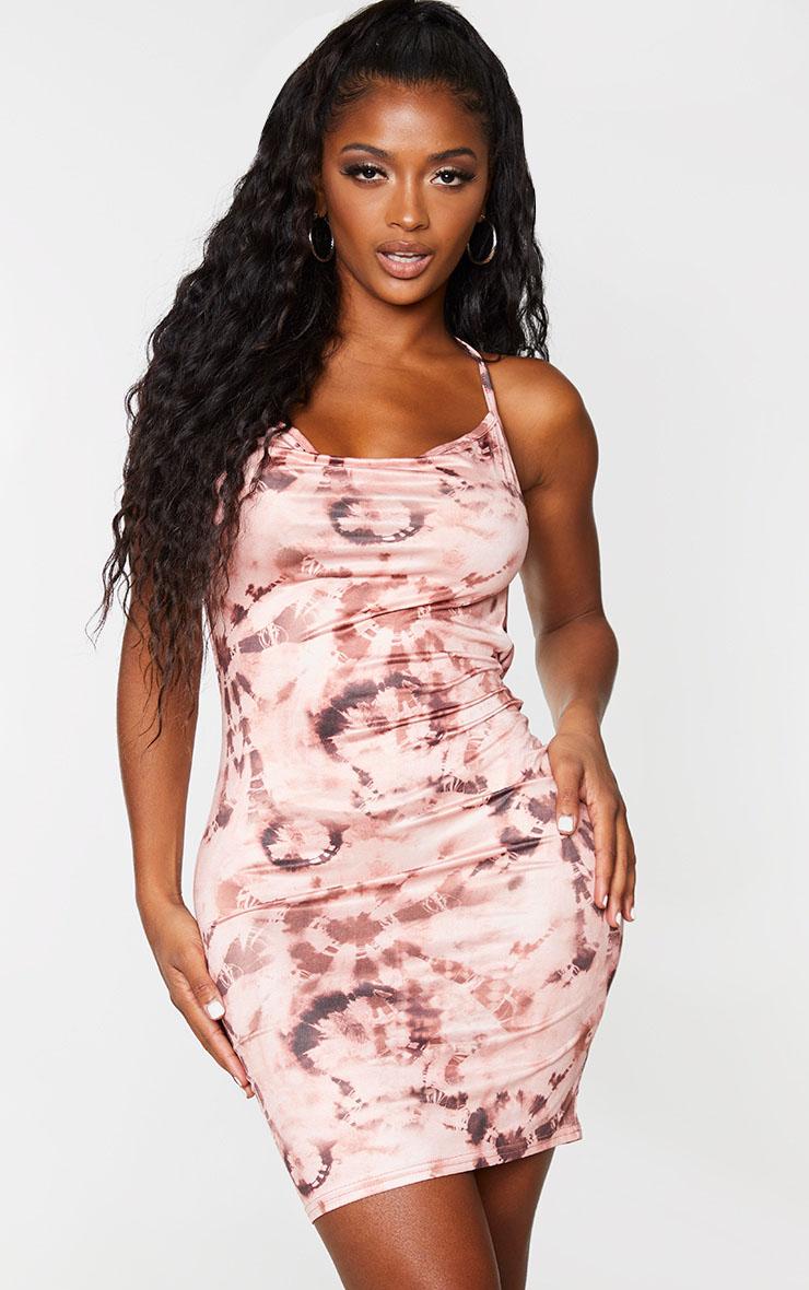 Shape Pink Tie Dye Slinky Cowl Back Bodycon Dress 1