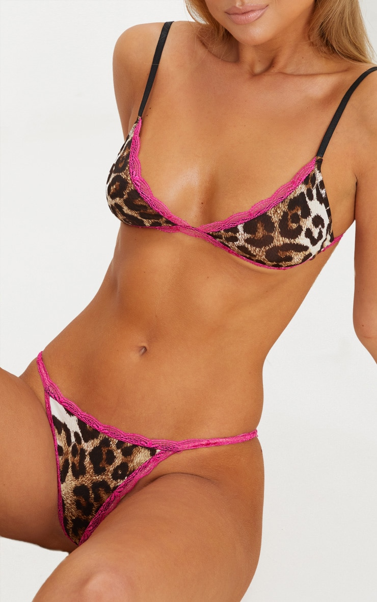 Hot Pink Leopard Lace Thong 1