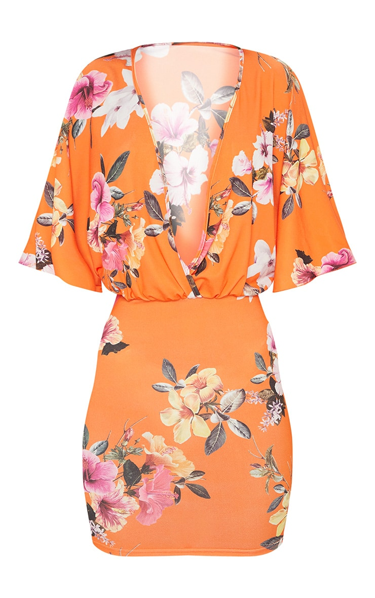 Orange Floral Batwing Bodycon Dress 3