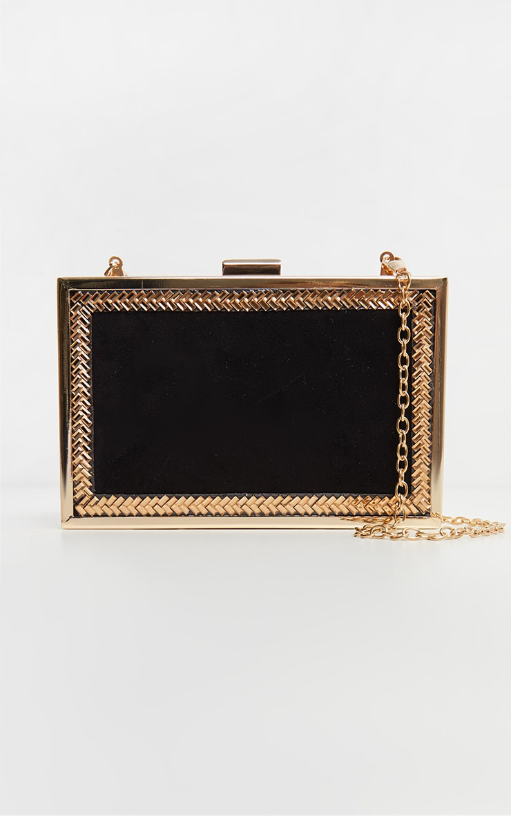 Black Satin Box Clutch 2