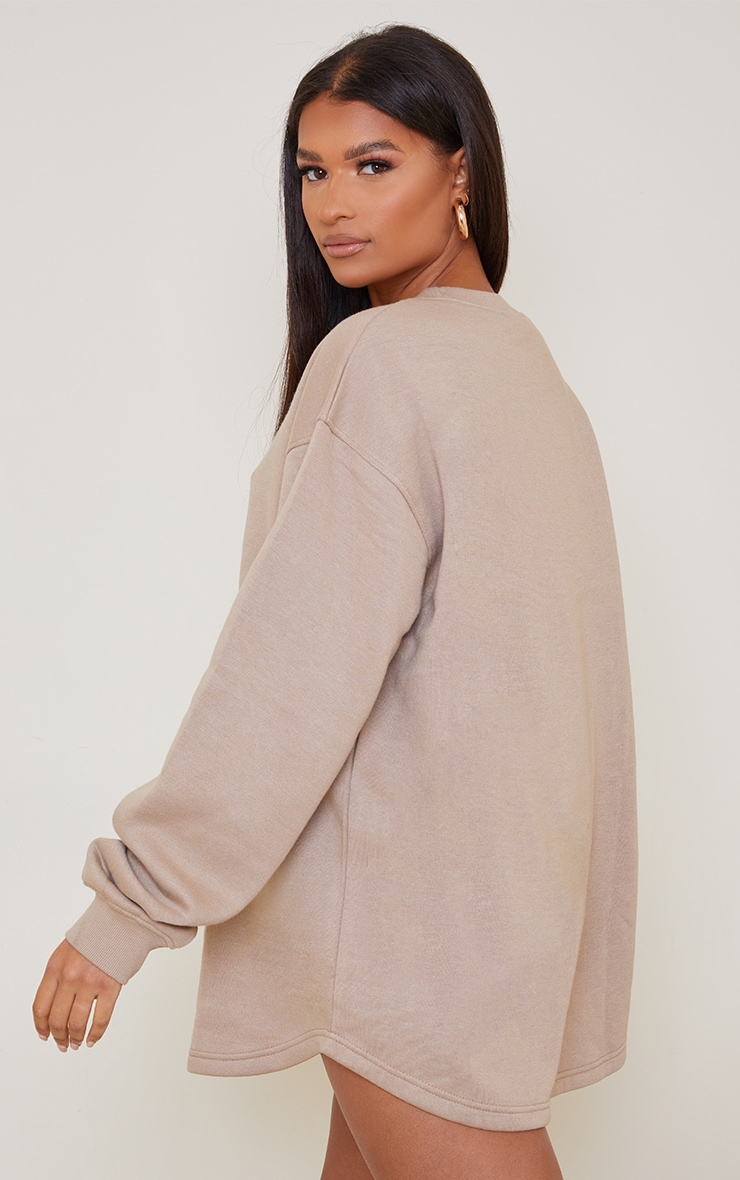 PRETTYLITTLETHING Taupe Contrast Stitch Oversized Sweater Dress 2