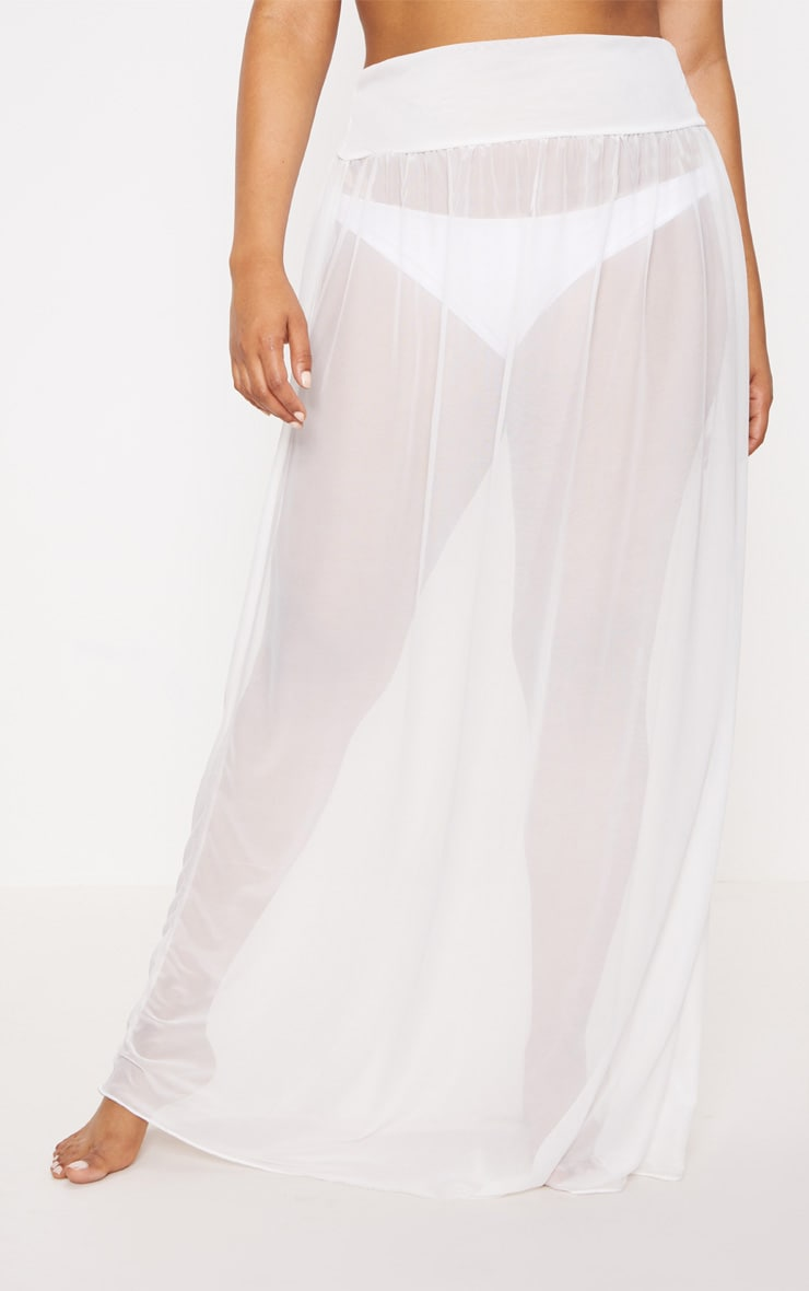Plus Bride White Chiffon Beach Skirt 2