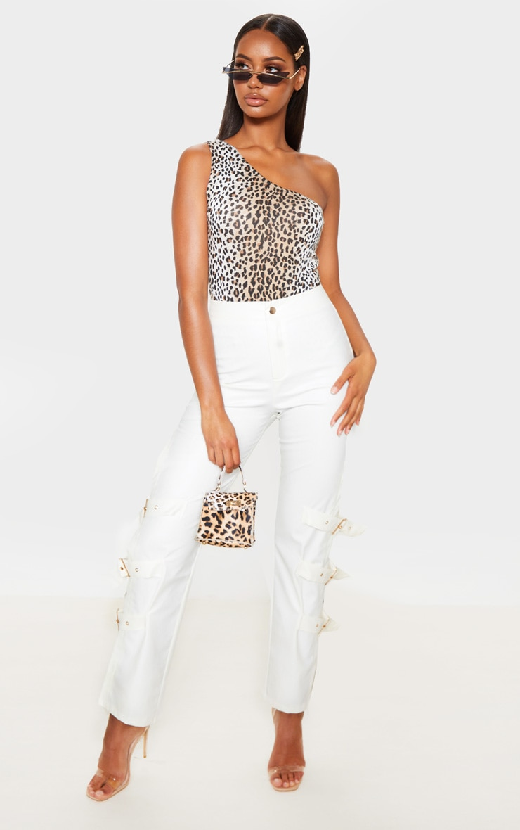 Tan Leopard Printed One Shoulder Bodysuit