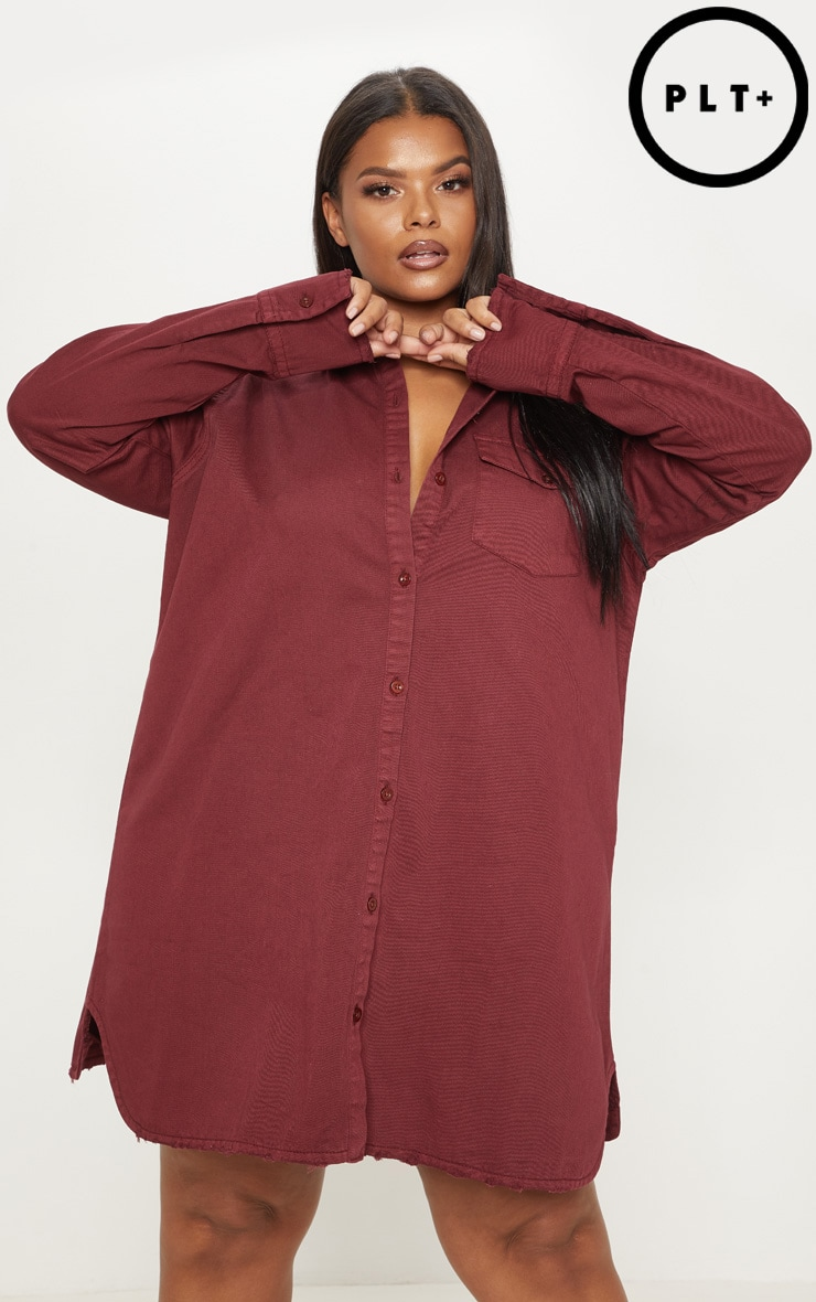 Plus Burgundy Shirt Dress Plus Size Prettylittlething Usa