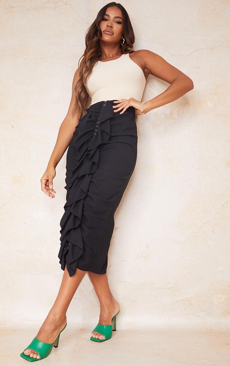 Black Hook And Eye Ruffle Front Midaxi Skirt 1