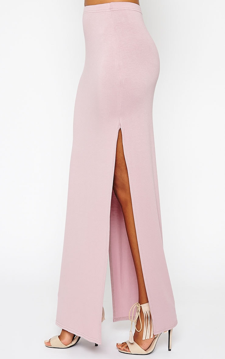 Kayley Mauve Split Jersey Maxi Skirt 3