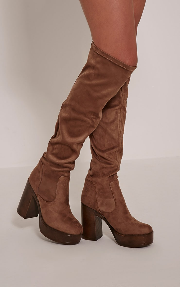 Denney Mocha Faux Suede Platform Over The Knee Boots 1