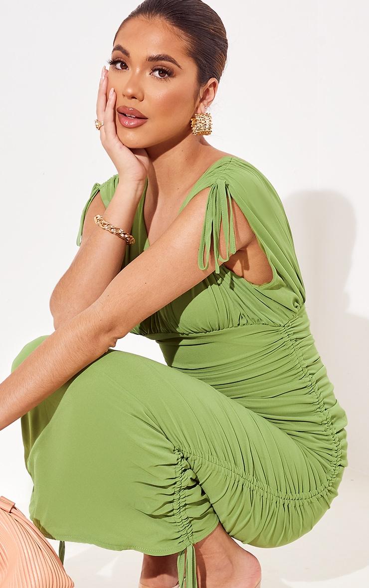 Green Chiffon Sleeveless Ruched Plunge Midi Dress 4