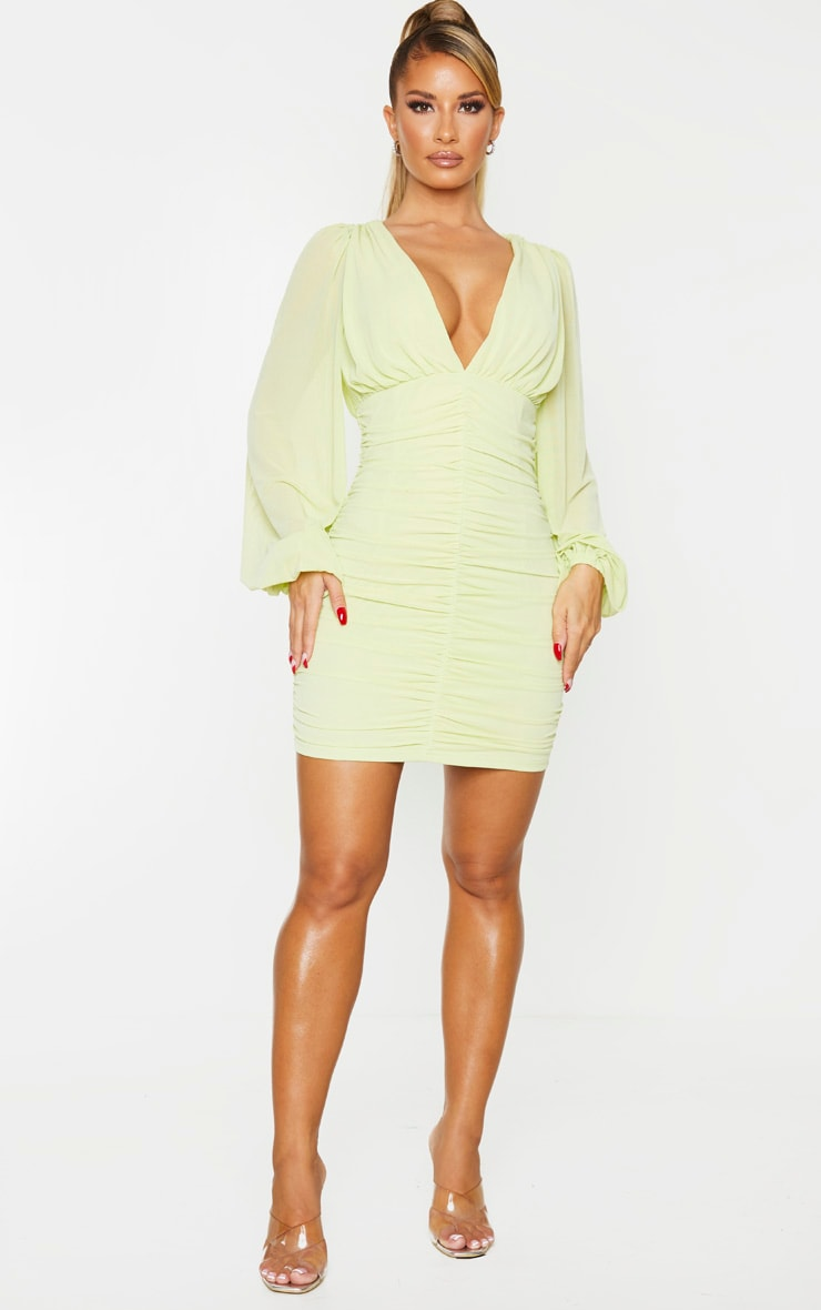 Lime Mesh Ruched Balloon Sleeve Bodycon Dress 3