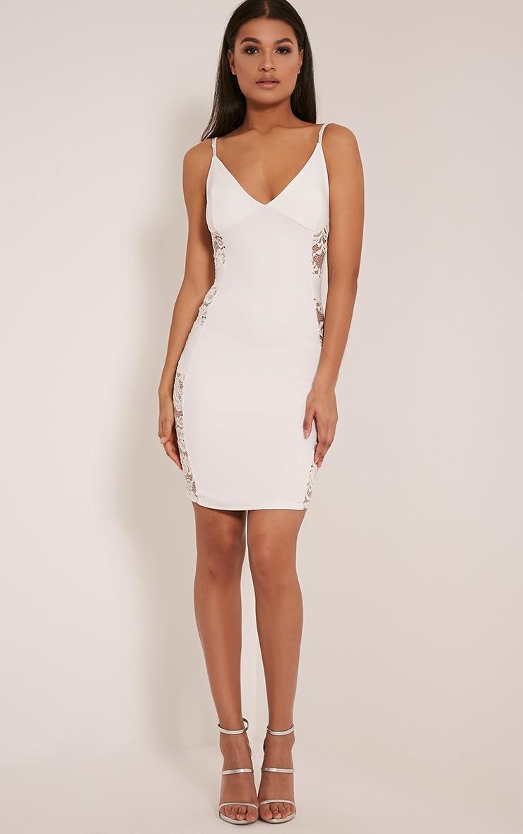Adina White Lace Insert Mini Dress 5