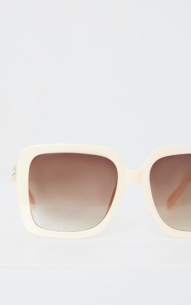 PRETTYLITTLETHING Cream Branded Oversized Square Sunglasses 2