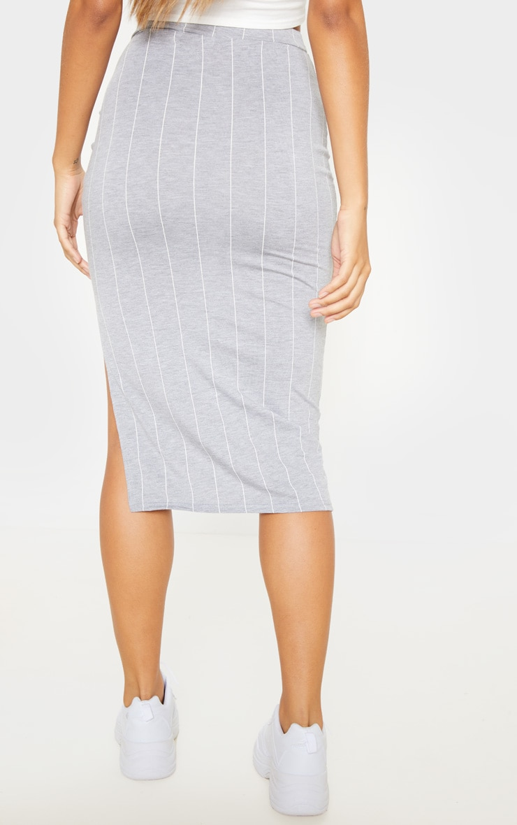 Grey Pinstripe Side Split Midi Skirt 4
