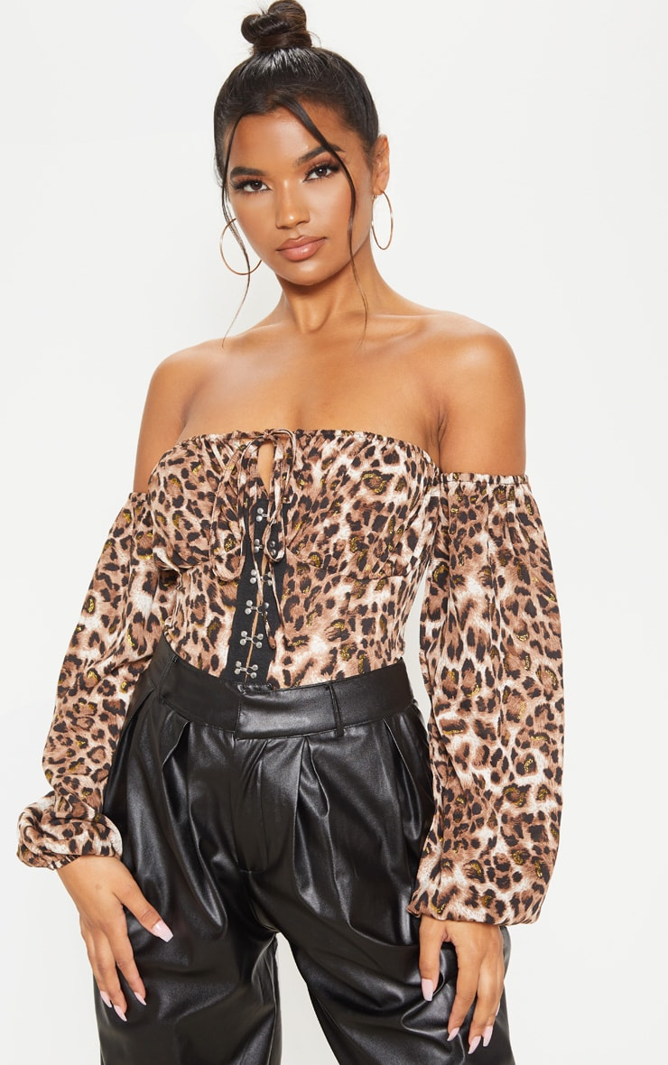 Tan Glitter Leopard Printed Hook & Eye Bardot Long Sleeve Bodysuit 1
