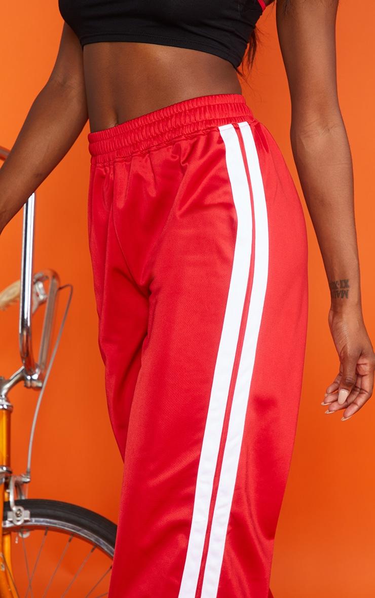 Red Sports Stripe Wide Leg Joggers 4