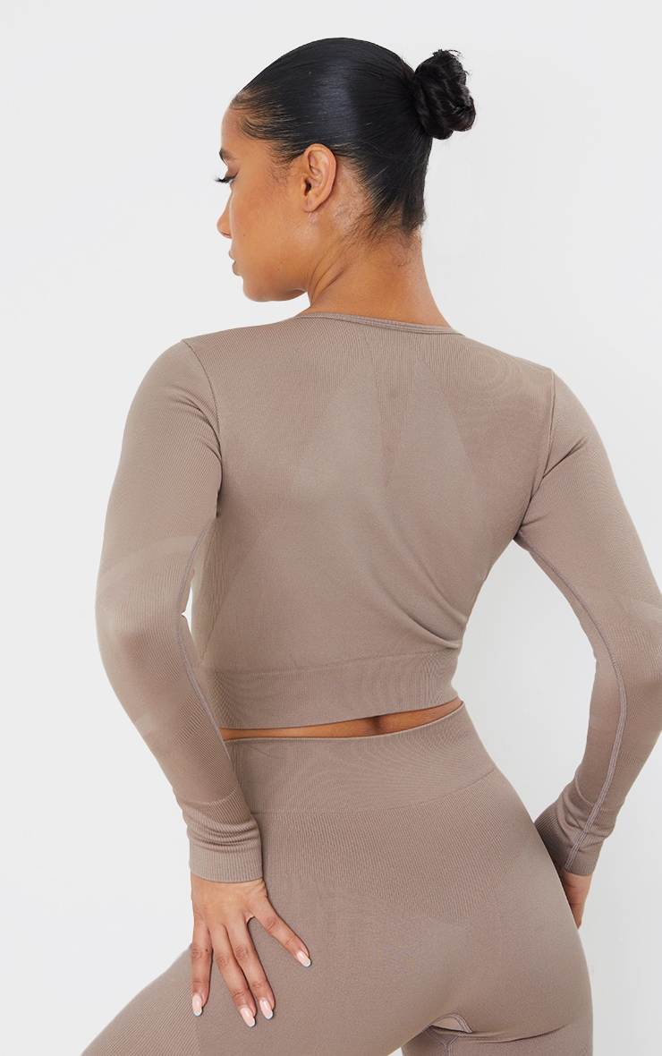 Taupe Seamless Long Sleeve Rib Detail Sports Top 3