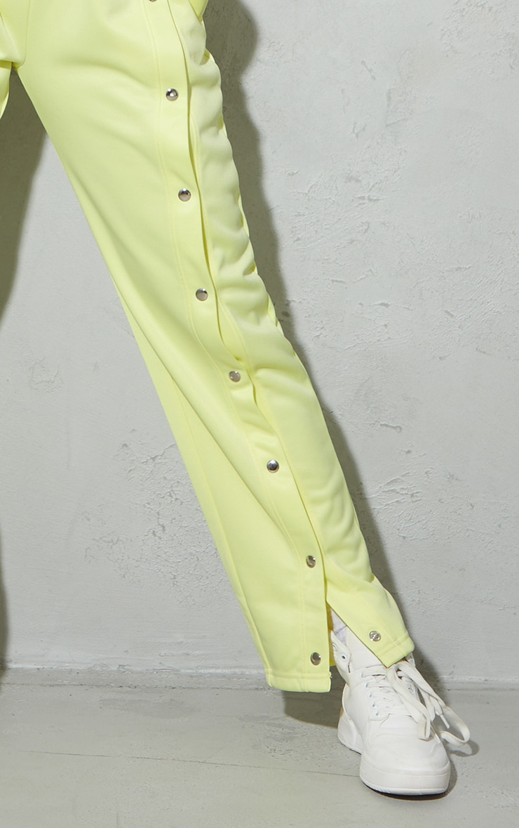 Pale Yellow Popper Front Track Joggers 4