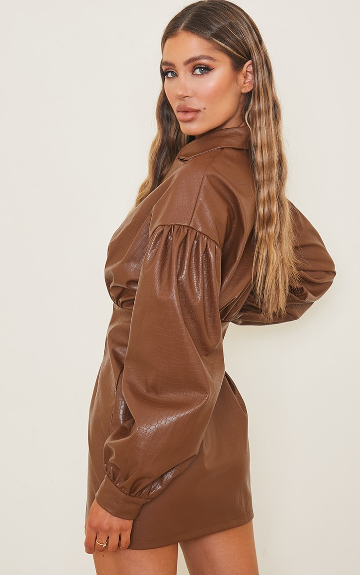 Brown Croc Faux Leather Ruched Detail Balloon Sleeve Shirt Dress 2