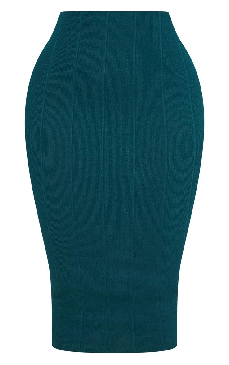 Shape Emerald Green Bandage Midi Skirt 3