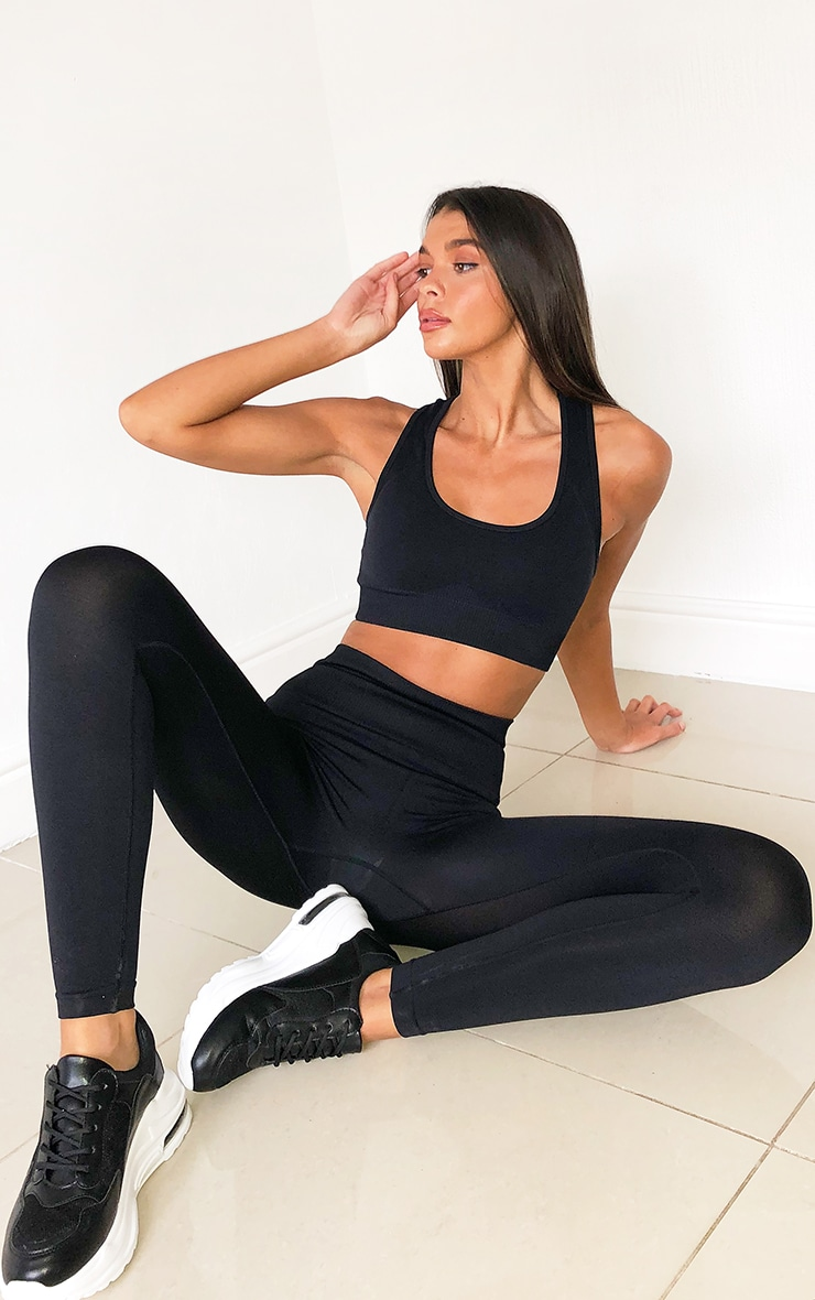 Black High Waist Seamless Gym Leggings 1