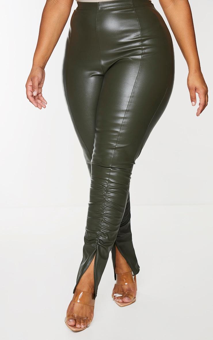 Plus Khaki PU Ruched Pants 2