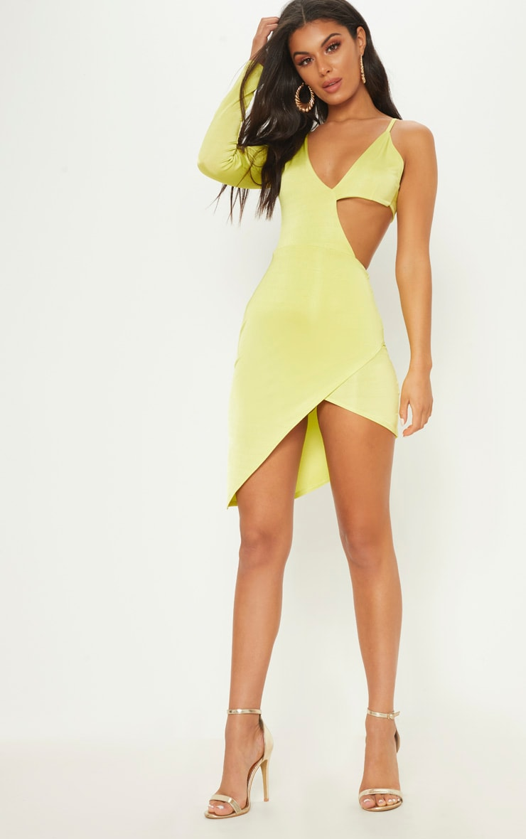 Neon Green Cut Out One Shoulder Bodycon Dress 1