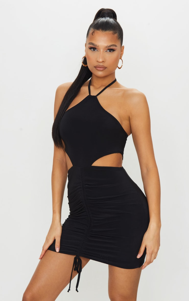 Black Slinky Halterneck Cut Out Ruched Bodycon Dress 1