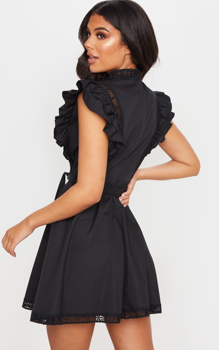 Black Frill Sleeve Binding Detail Skater Dress 2