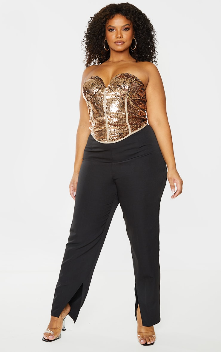 Plus Bronze Sequin Corset Top 1