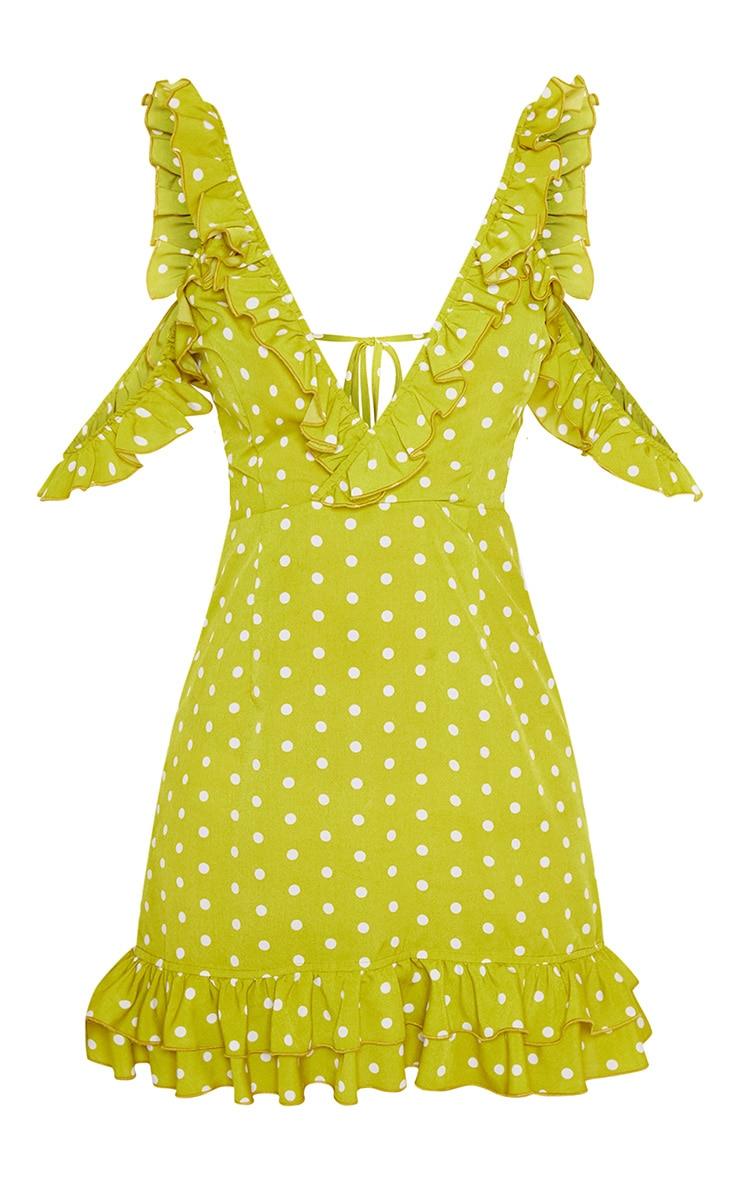 Lime Polka Dot Frill Hem Bodycon Dress 4