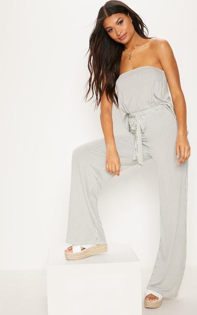 Pantalon ample blanc à rayures fines noué à la taille b709f10029bb