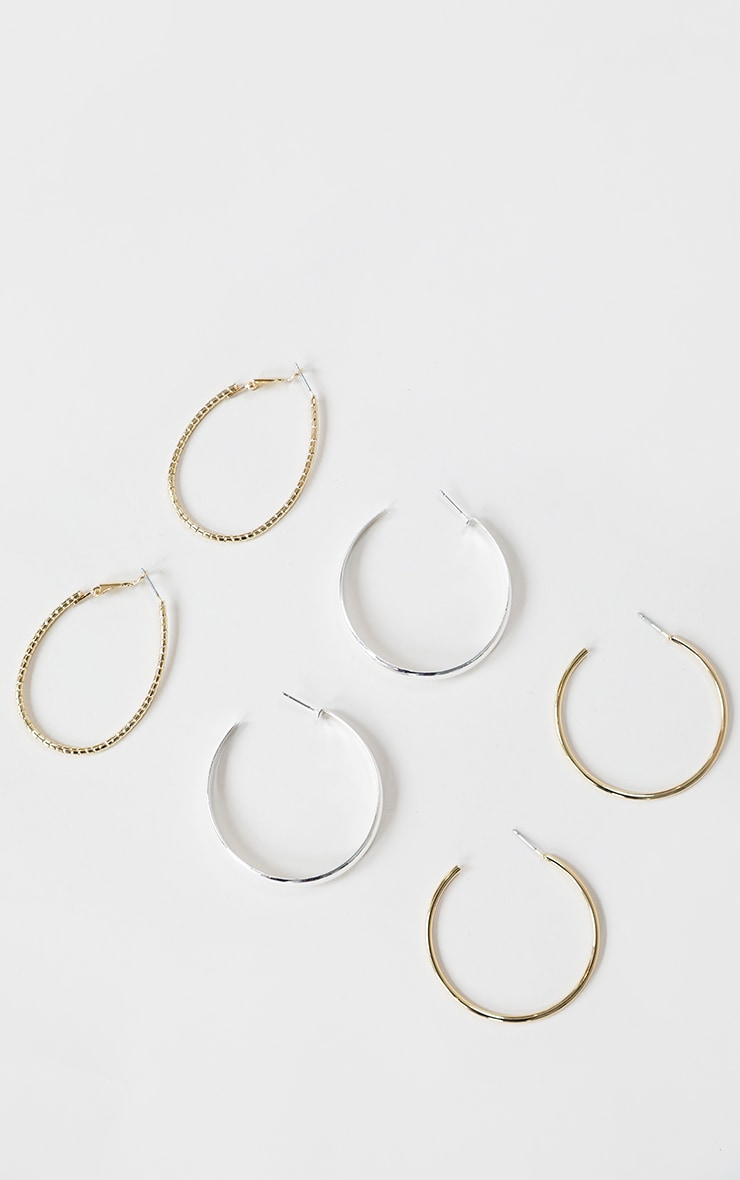 Gold And Silver Mixed Hoop 3 Pack 1