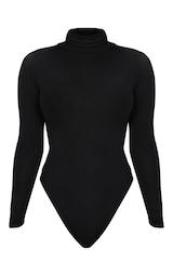 Petite Black Basic Roll Neck Long Sleeve Bodysuit 3