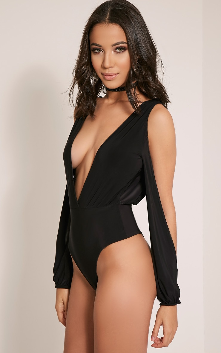 Liora Black Deep Plunge Open Sleeve Bodysuit 3