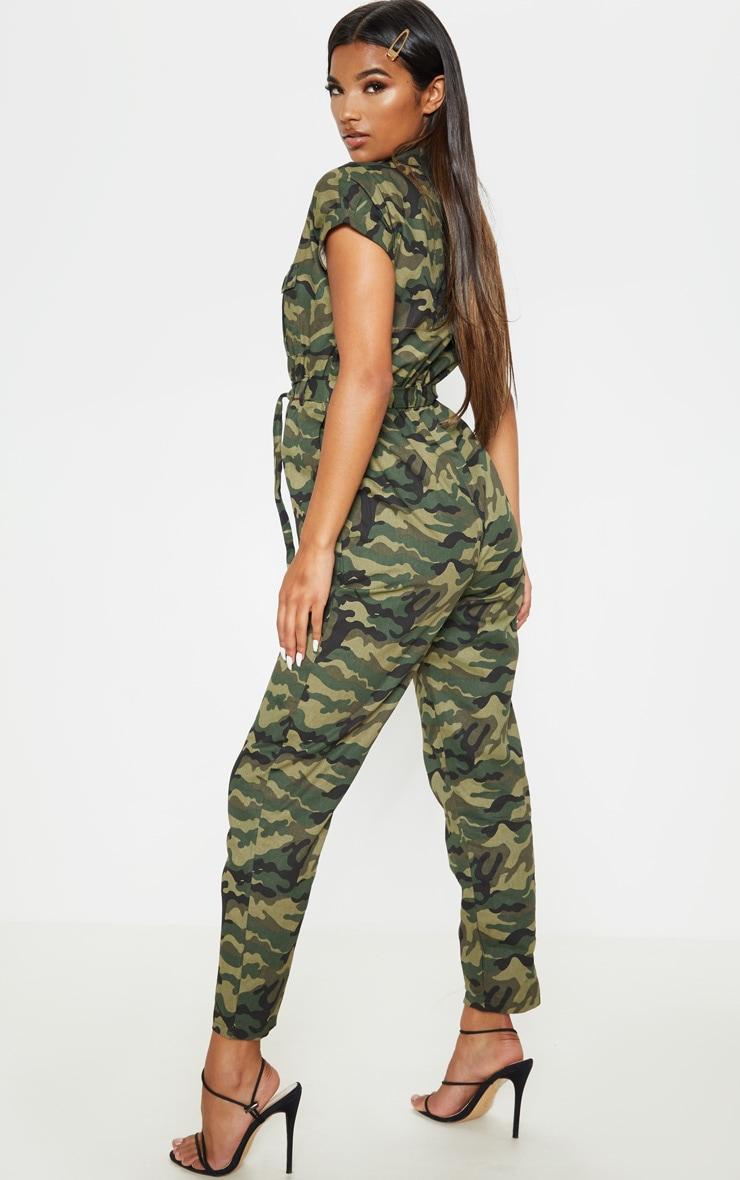 Khaki Camo Print Tie Waist Jumpsuit 2