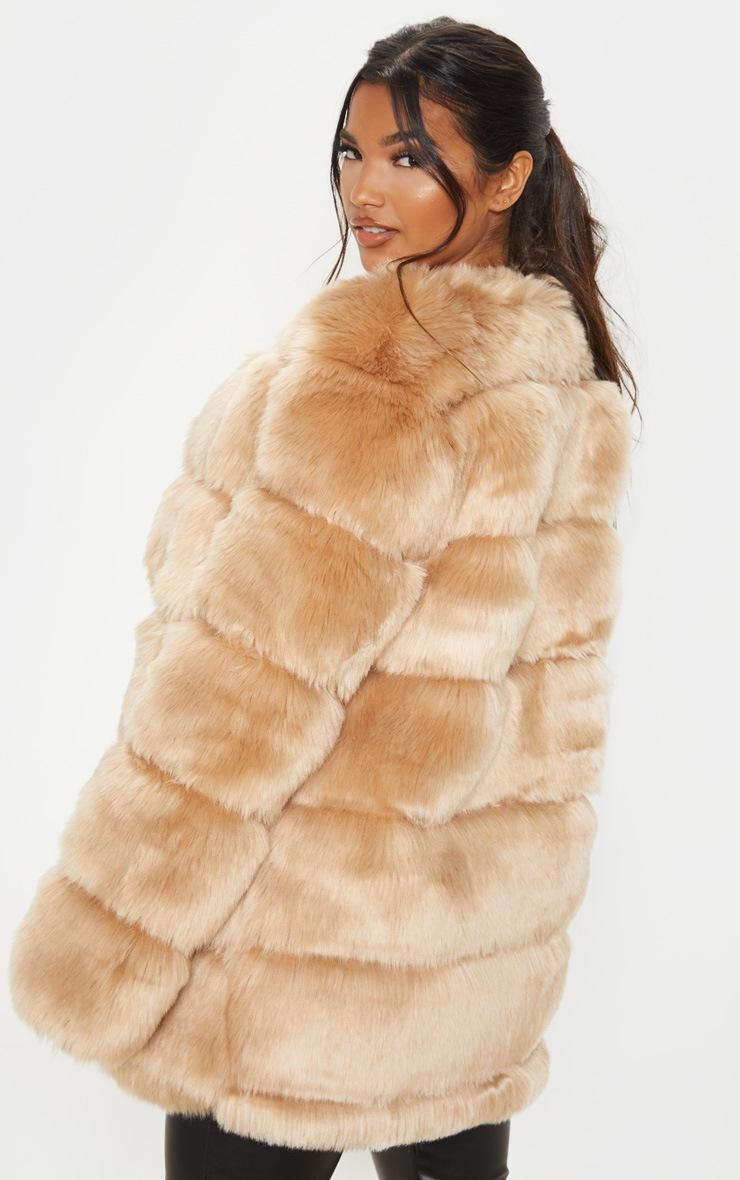 Stone Faux Fur Bubble Coat 2