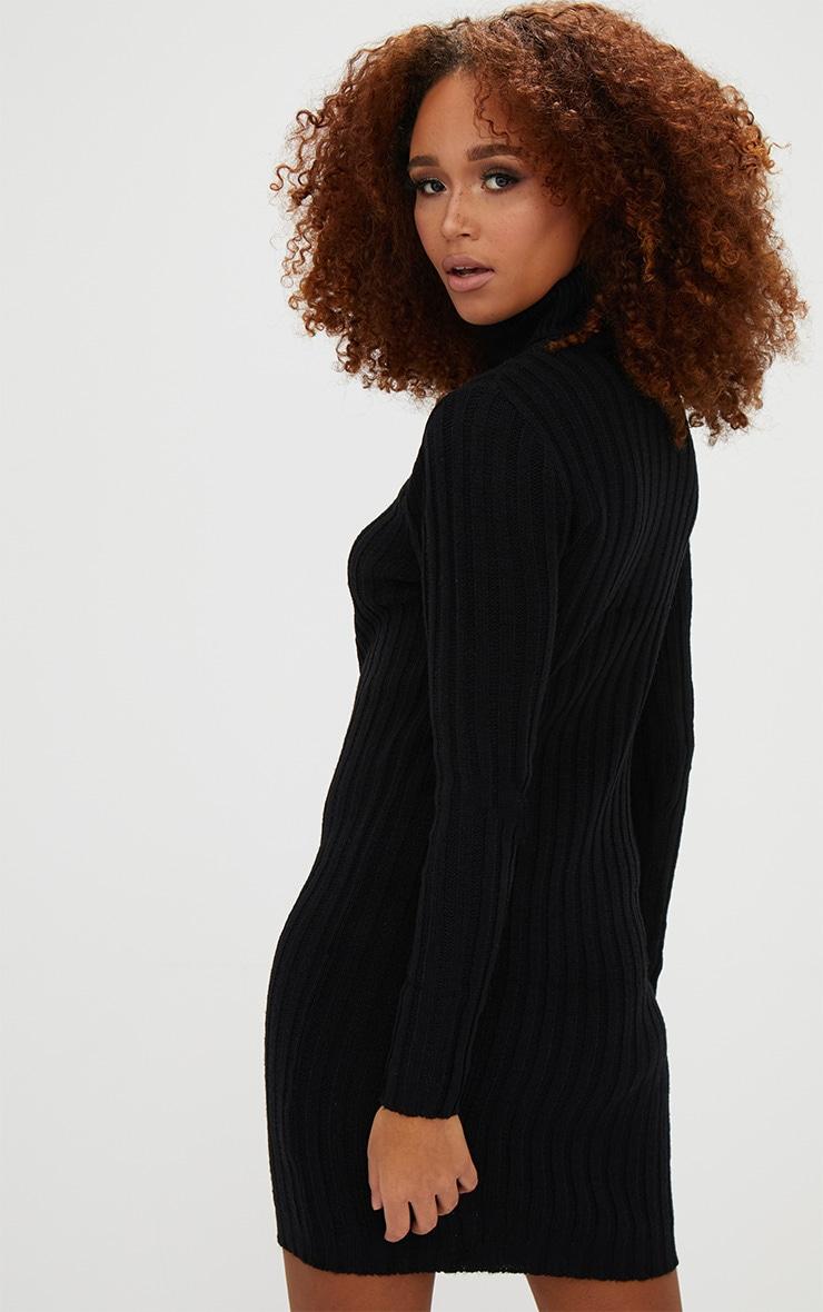 Black Rib Roll Neck Dress 2