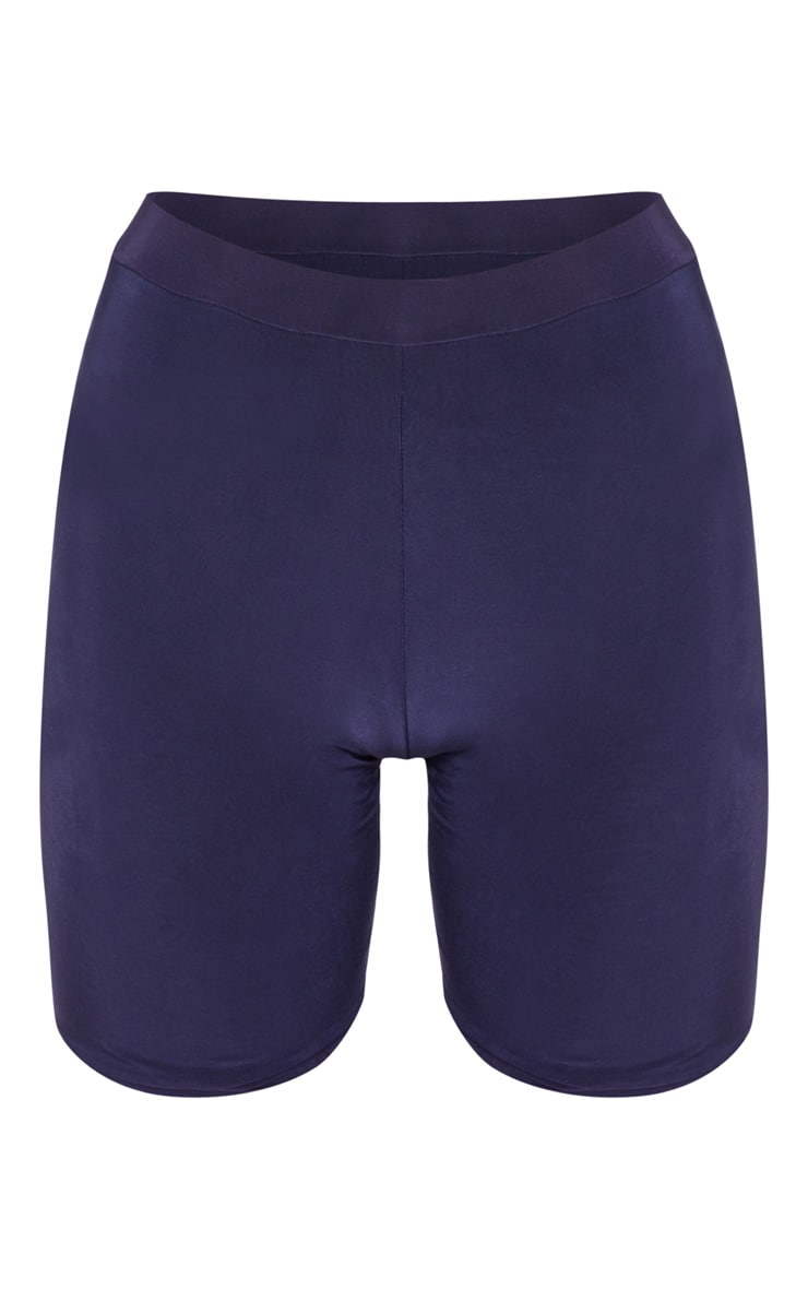 Bella Navy Slinky High Waisted Cycle Short 3